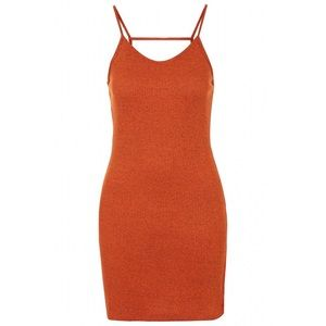 Topshop Orange Strappy Back Bodycon Knit Dress 10